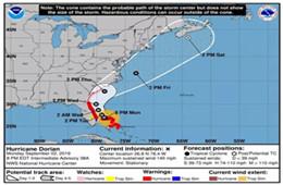 """美國颶風""""多里安""""預警,請注意合理安排佛羅里達州的貨運計劃"""